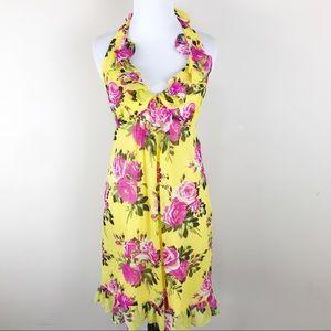 Betsey Johnson Yellow Rose Silk Halter Dress SZ 0